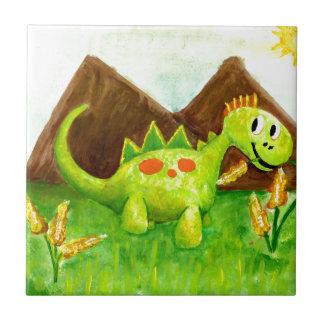 Kids art happy dinosaur dino arnie ceramic tile