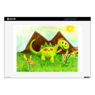 """Kids art happy dinosaur dino arnie decals for 15"""" laptops"""