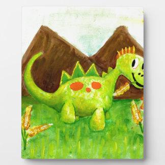 Kids art happy dinosaur dino arnie plaque