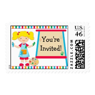 Kids Art Painting Party Blonde Girl Postage Stamp