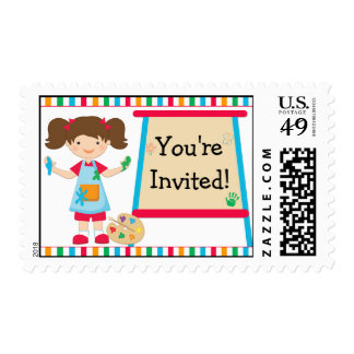 Kids Art Painting Party Brown Haired Girl Postage