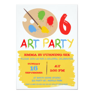 Kids Art Party Birthday Invitation