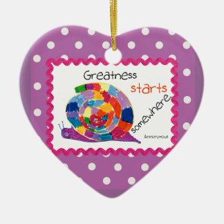 Kids Art Snail Heart Ornament