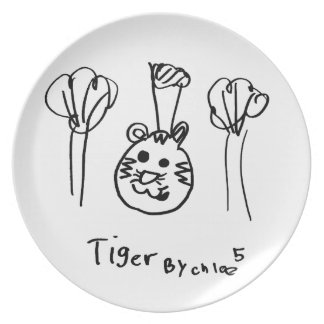 Kids Art Tiger Party Plate
