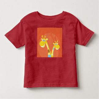 Kids artistic Tshirt : DEEP RED WITH GIRAFFEs CUTE