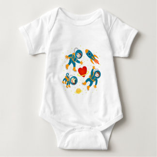 Kids astronauts love space travel baby bodysuit