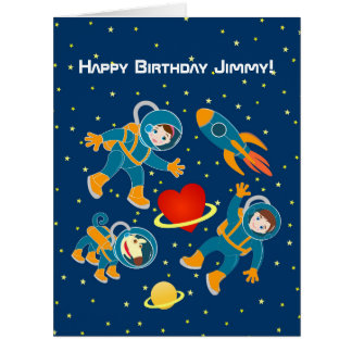 Kids Astronauts love space travel Large Greeting Card