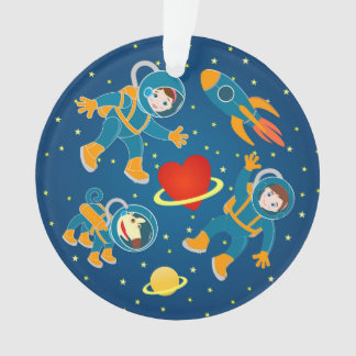 Kids Astronauts love space travel Ornament