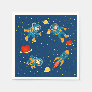 Kids Astronauts love space travel Standard Cocktail Napkin
