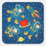Kids Astronauts love space travel Square Sticker