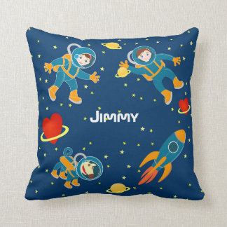 Kids Astronauts love space travel Throw Pillow