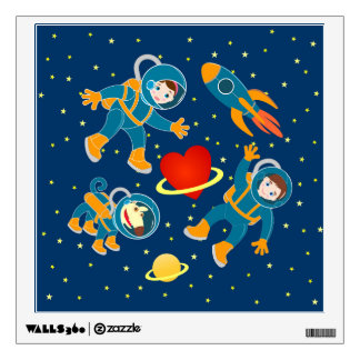 Kids Astronauts love space travel Room Stickers
