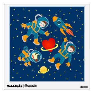 Kids Astronauts love space travel Wall Sticker