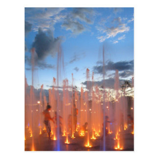 Kids at Play in Colored Fountain - Austin Texas Postcard