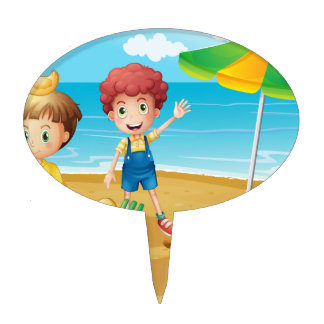 Kids at the beach with an umbrella and a foldable cake picks