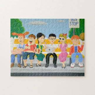 Kids at the Bus Stop Jigsaw Puzzle