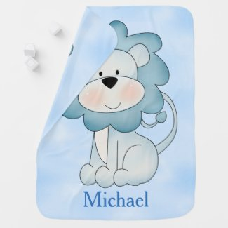 Kid's Baby Blanket Blue Lion