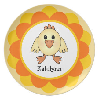 Kids' Baby Chick Personalized Melamine Plate