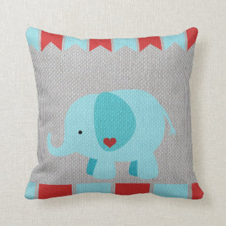 Kids & Baby Gray, Blue & Red Elephant Pillow
