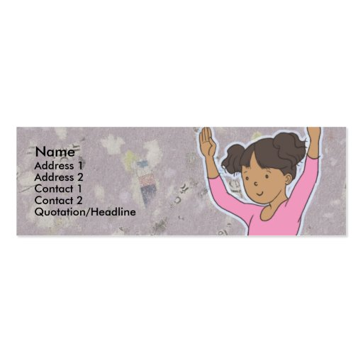 Kids Ballerina Skinny Profile Cards Double-Sided Mini Business Cards (Pack Of 20)