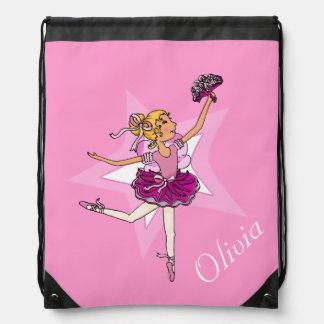 Kids ballet ballerina pink name drawstring bag