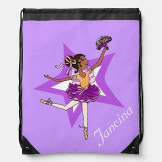 Kids ballet ballerina purple name drawstring bag