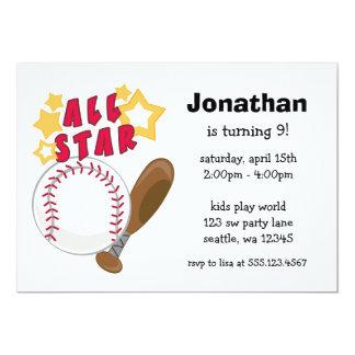 Kids Baseball All Star Birthday Party Invitations