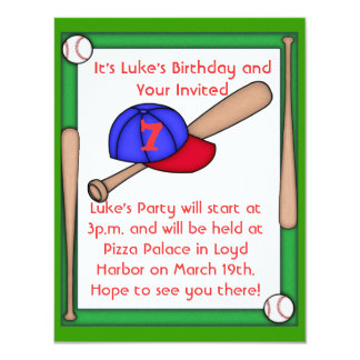 KIDS  Baseball Birthday Party Invitation