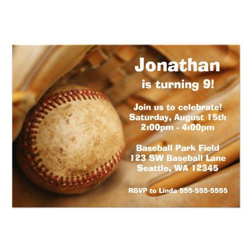 Kids Baseball Birthday Party Invitations