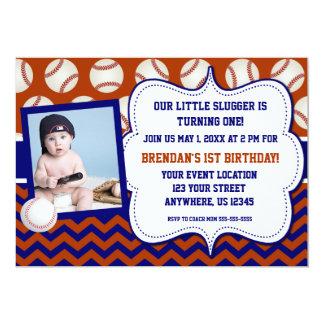 "Kids Baseball Photo Birthday Invitation 5"" X 7"" Invitation Card"
