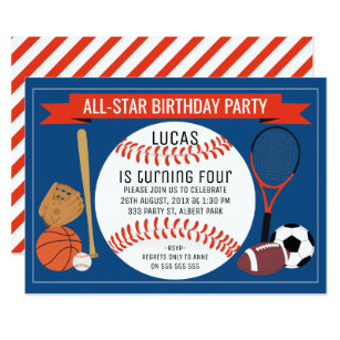 Sports birthday invitations announcements zazzle kids baseball sports birthday party invitation filmwisefo Image collections
