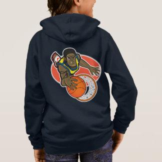 Kids' Basic Zip Hoodie Navy with basketball player