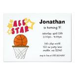 "Kids Basketball All Star Birthday Party Invitation 5"" X 7"" Invitation Card"