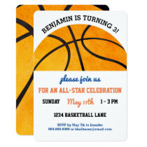 Kids Basketball Birthday Party Sports Themed Cute Card