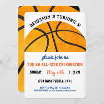 Kids Basketball Birthday Party Sports Themed Cute Invitation