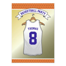 Kids Basketball Birthday Party | White Jersey Invitation