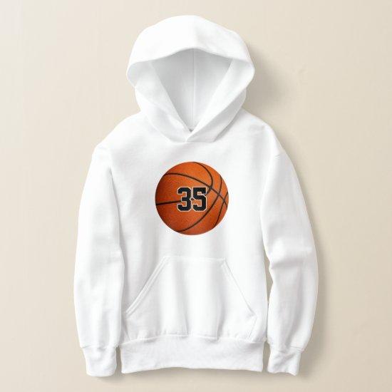 kids basketball hoodie with custom jersey number