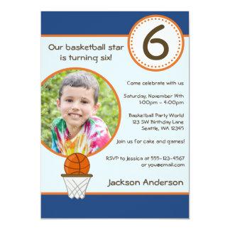Kids Basketball Photo Birthday Party Invitation