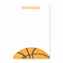 Kids Basketball Sports Personalized Orange Cool Post-it Notes
