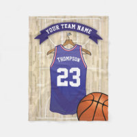 Kids Basketball Team, Name and Number Fleece Blanket