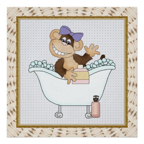 Kids Bathroom Monkey Cartoon Poster
