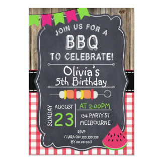Kids BBQ Birthday Party Invitation