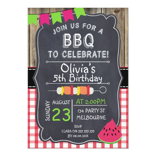 kids bbq birthday party invitation zazzle com