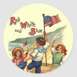 Kids Beach July 4th Flag Vintage Postcard Art Classic Round Sticker