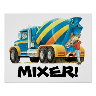 Kids Big Concrete Mixer Construction Truck Poster