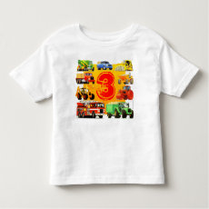 Kids Big Construction Truck 3rd Birthday Shirt