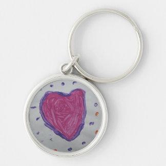 Kid's big heart art Silver-Colored round keychain