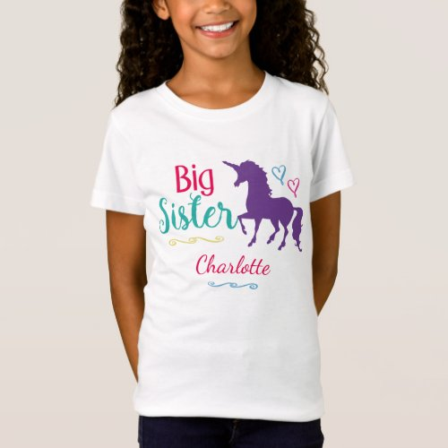 Kids Big Sister Unicorn Pretty Colorful Sisters T_Shirt