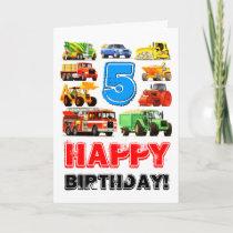 Kid's Big Truck 5th Birthday Card