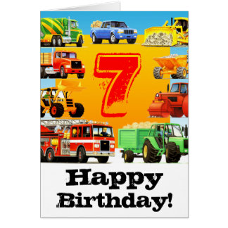 Kid's Big Truck 7th Birthday Greeting Cards